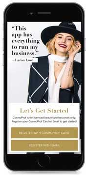 Cosmo Prof App para peluqueros, estilistas y otros profesionales de los salones estadounidenses.